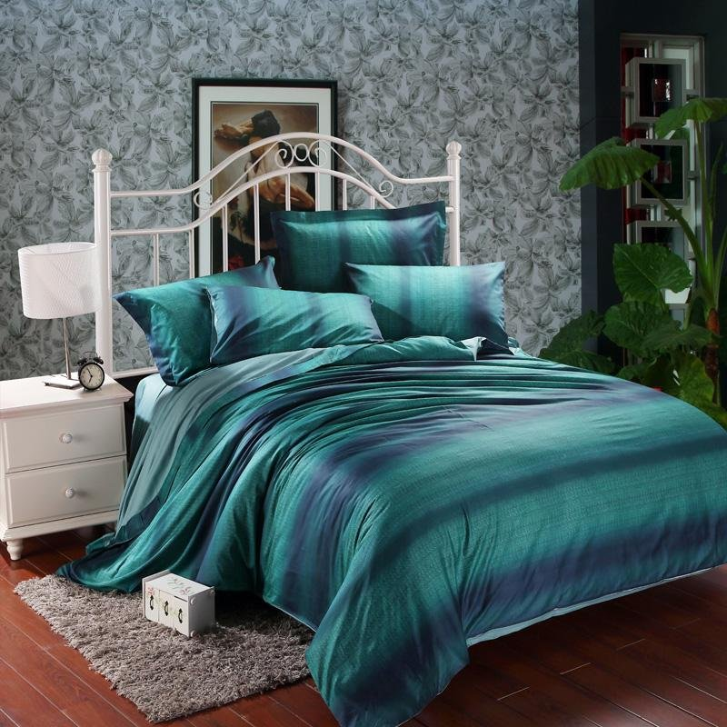 Image of: Dark Teal Green Purple Stripe Print Modern Chic Full Ideas Purple Bedding Sets Queen
