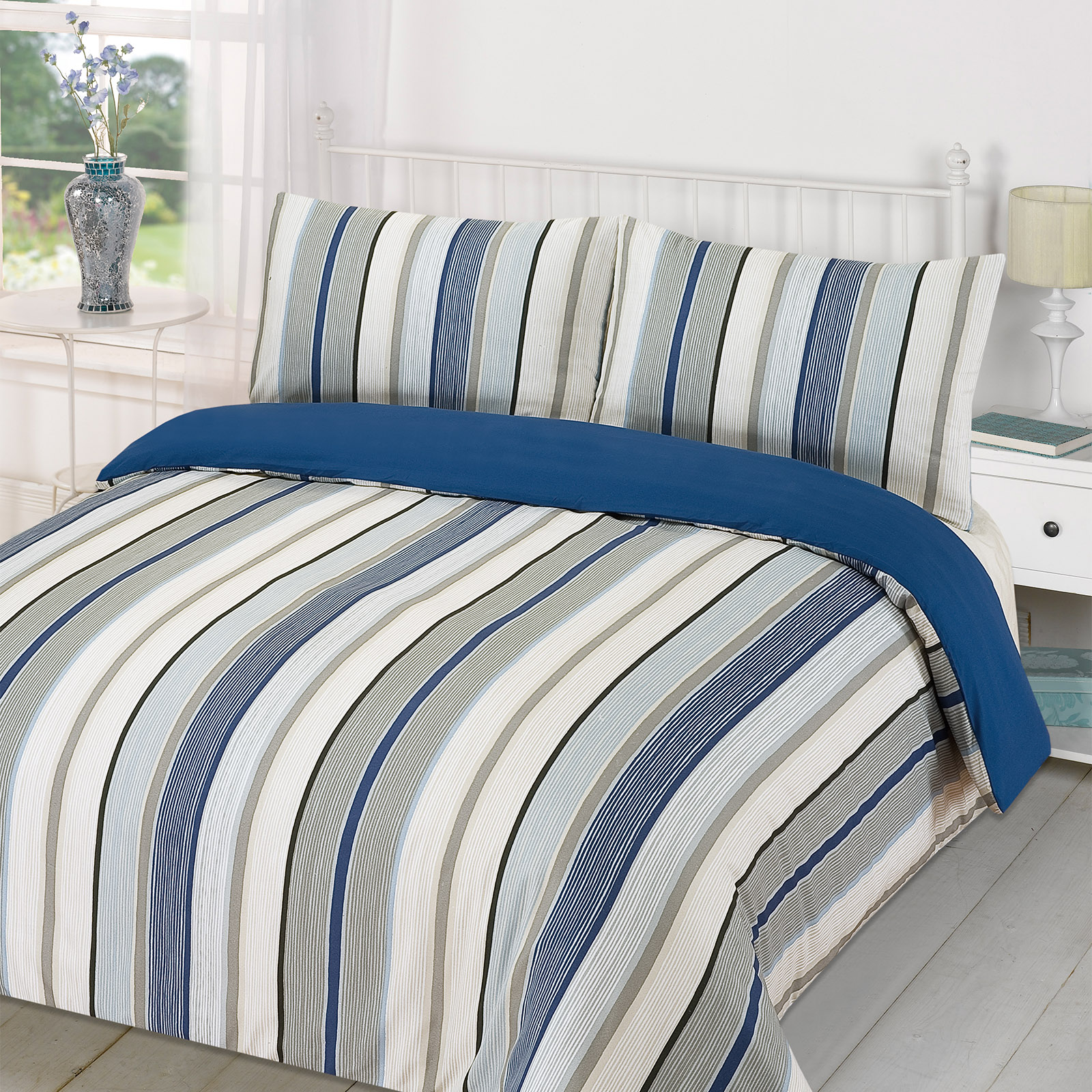 Image of: Duvet Quilr Blue and Grey Strips