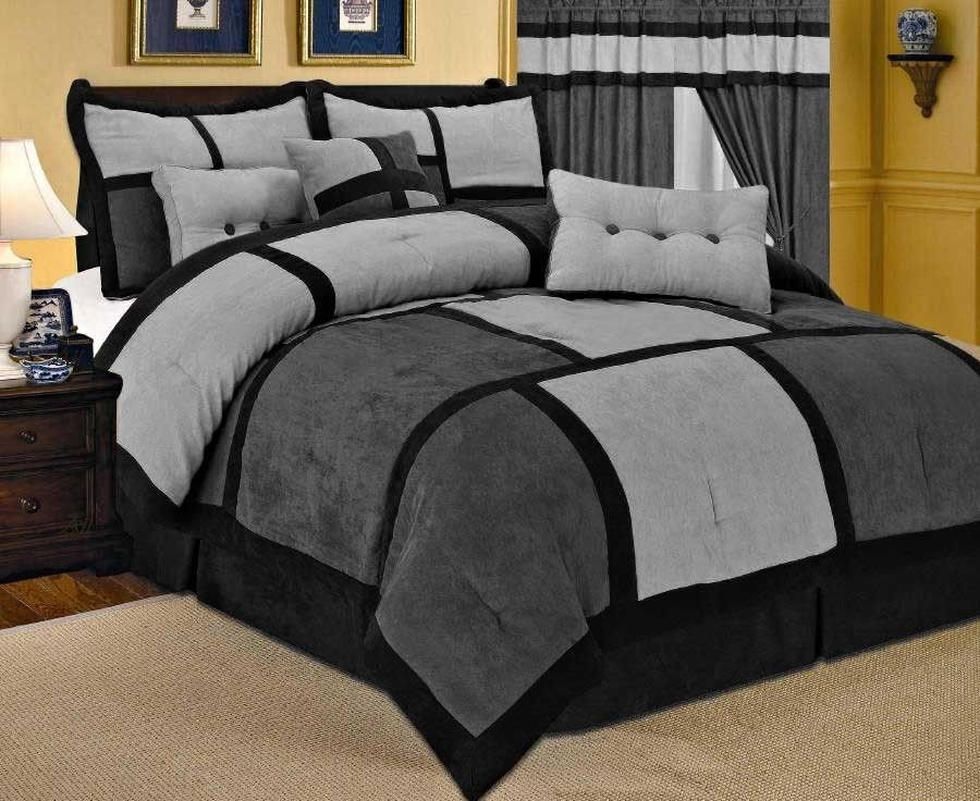 Image of: Grey Comforters Luxury Home Euphorium Black U0026 Grey Themed Music Note Bed Set