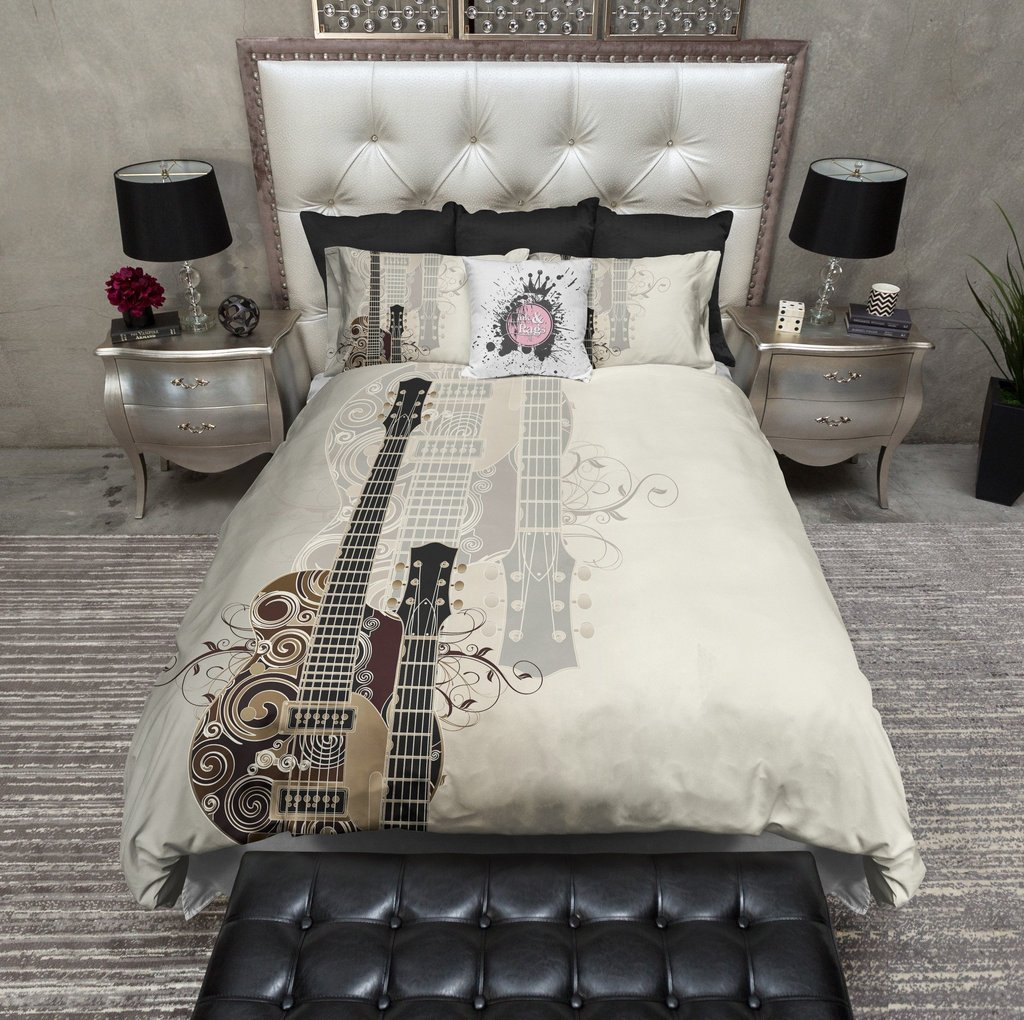 Image of: Guitar Bedding Set Grey Guitar Comforter Bedding Set Themed Music Note Bed Set