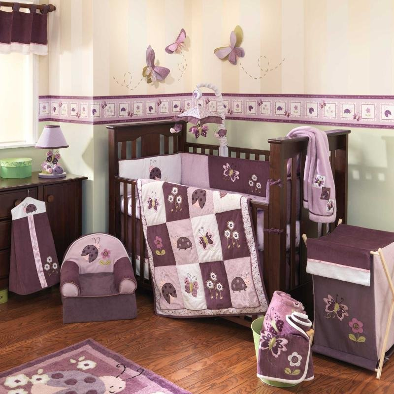 Image of: Hanging Butterfly Nursery Room Decor Butterfly Wing Coral Baby Bedding and Accessories