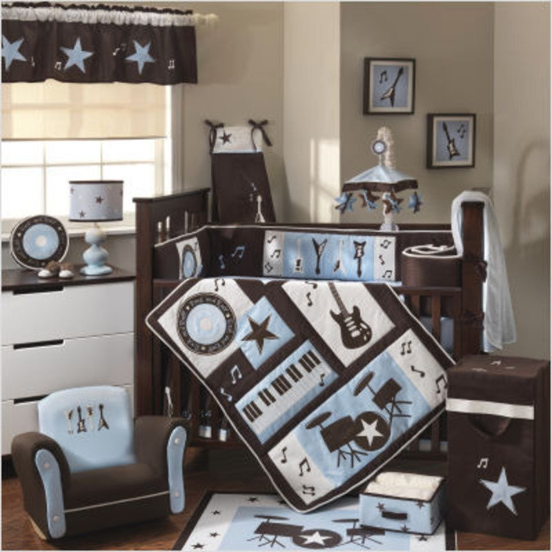 Image of: Home Design Baby Girl Room Theme Idea Themed Music Note Bed Set
