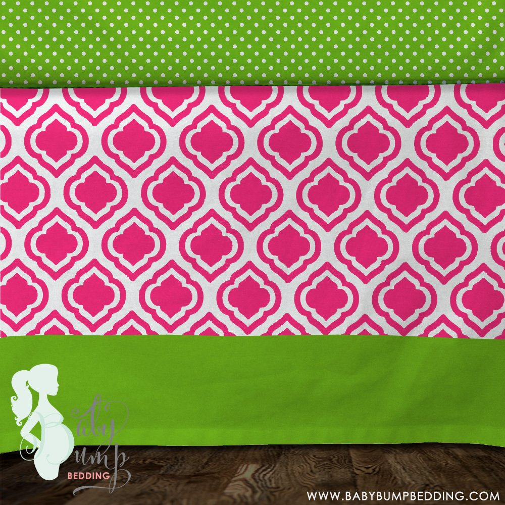 Image of: Hot Pink Lime Green Baby Girl Crib Skirt Coral Baby Bedding and Accessories