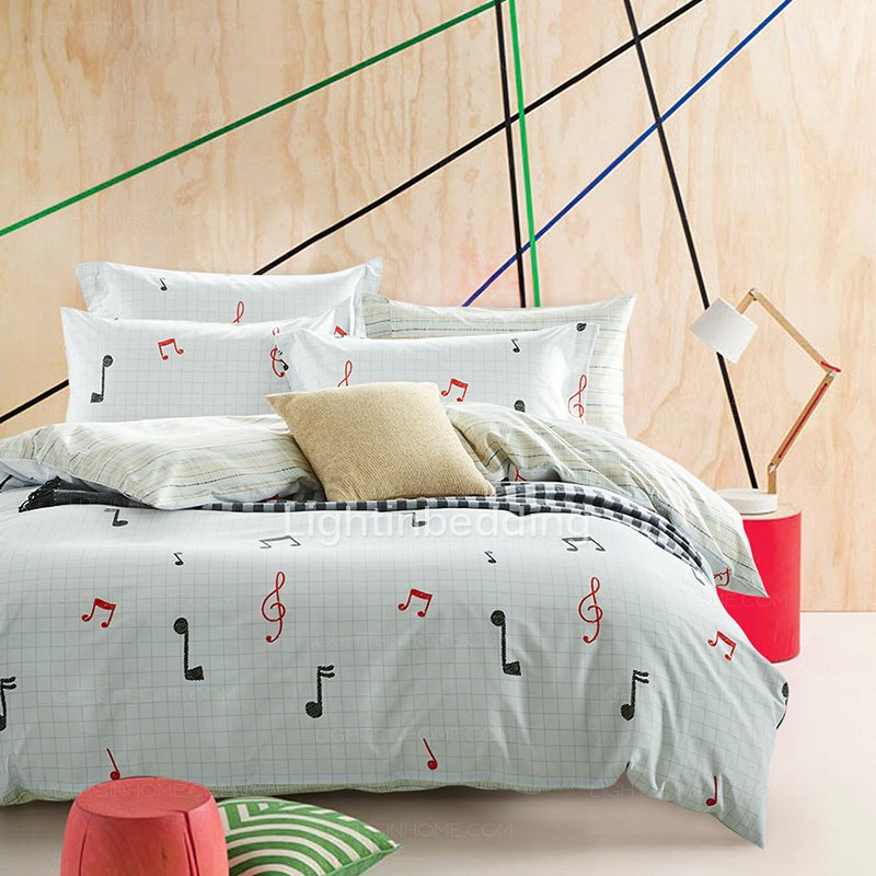 Image of: Music Note Bed Set 70 3d Red Rose Printed Cotton Luxury Themed Music Note Bed Set