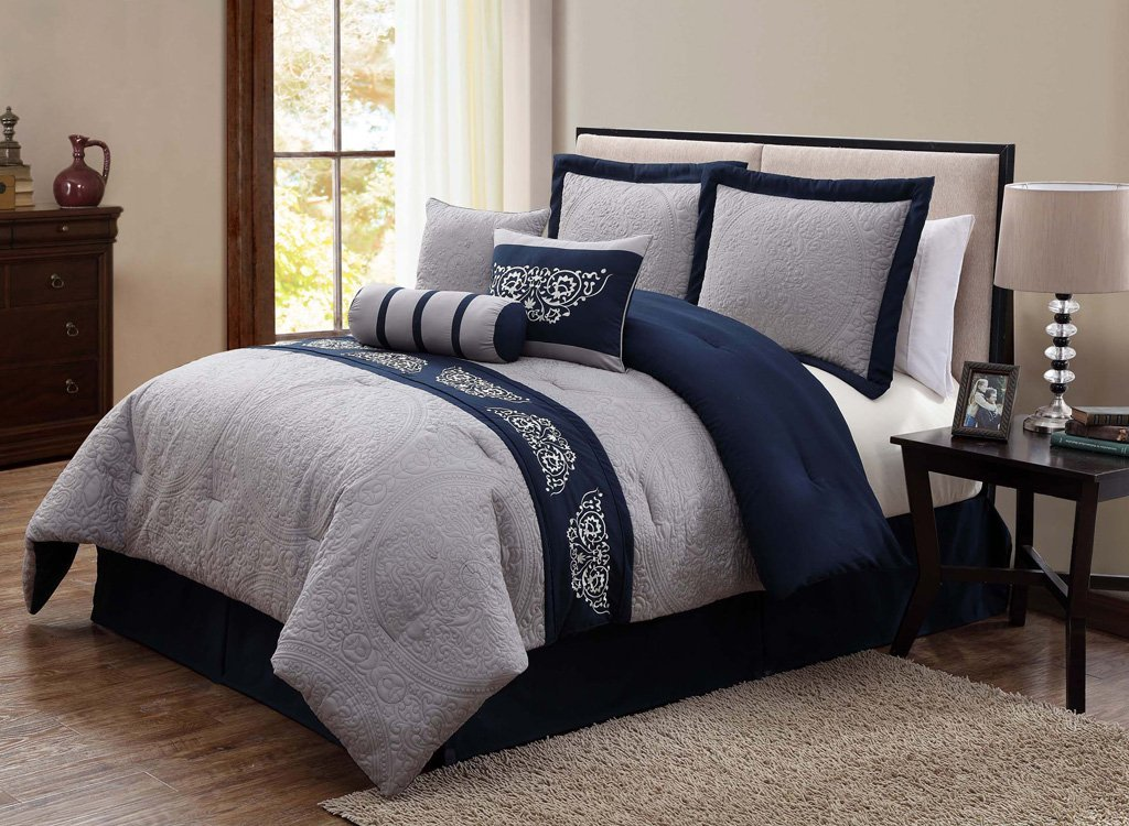 Image of: Navy Blue and Grey Bedding Color