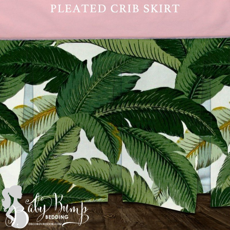 Image of: Palm Leaf Print Blush Pink Baby Girl Crib Skirt Coral Baby Bedding and Accessories