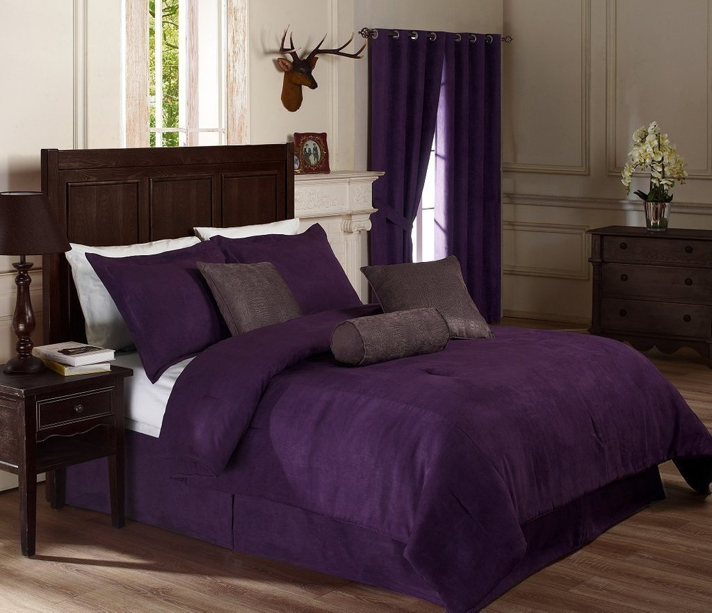 Image of: Pin Gorgeous Deep Dark Red Hair Beauty Salon Style Ideas Purple Bedding Sets Queen