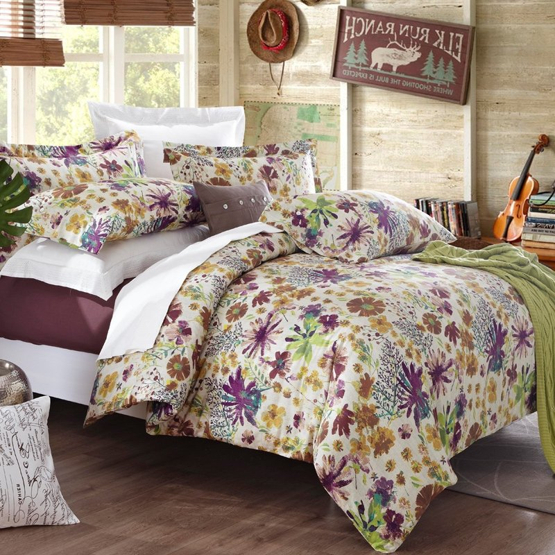 Image of: Purple Yellow Green Western French Country Style Ideas Purple Bedding Sets Queen