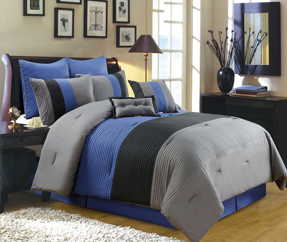 Image of: Strip Blue and Grey Quilt Color