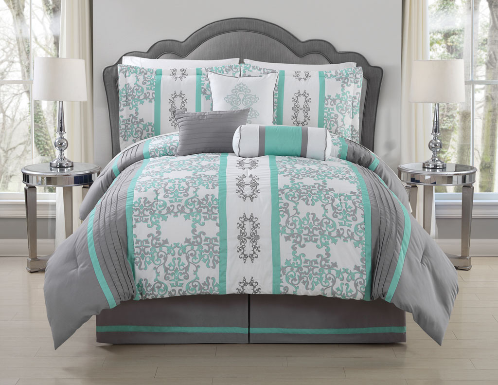 Image of: Teal and Gray Bed Cover