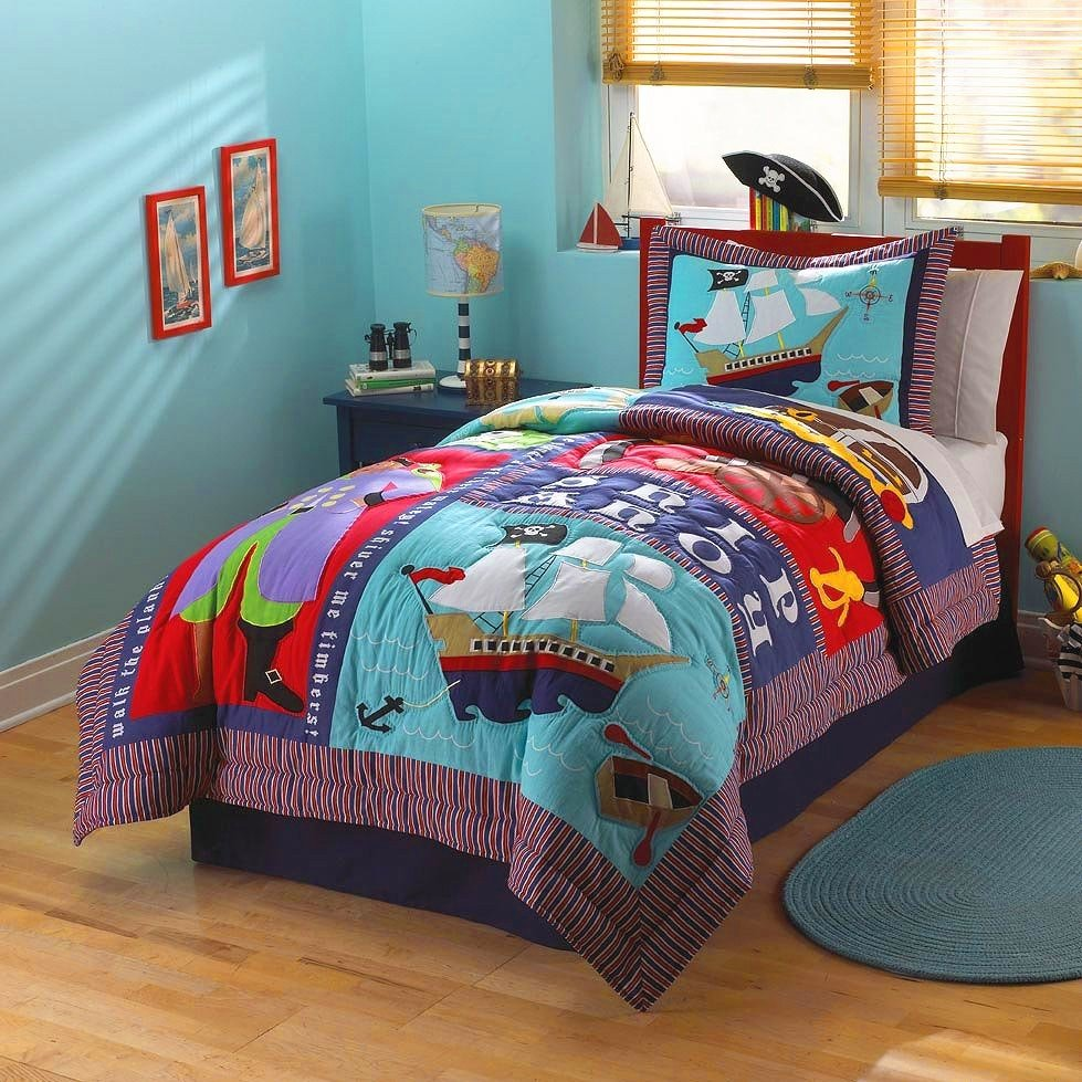 Image of: Twin Bedding Boy Kid Pirate Ship Bedding Friendly Ideas Teen Boy Bed Sets