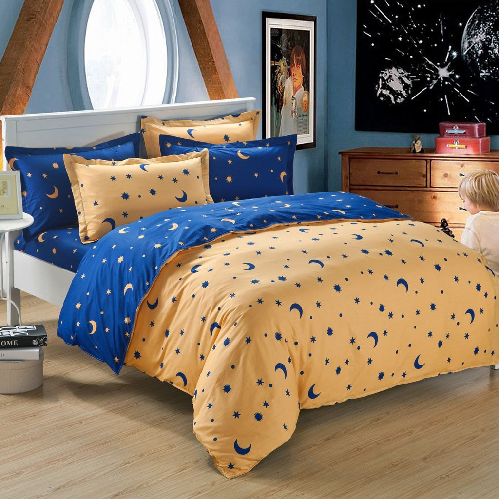 Image of: 100 Queen Size Sheet Latitude Ruby Ruffle Moon and Stars Bedding Set