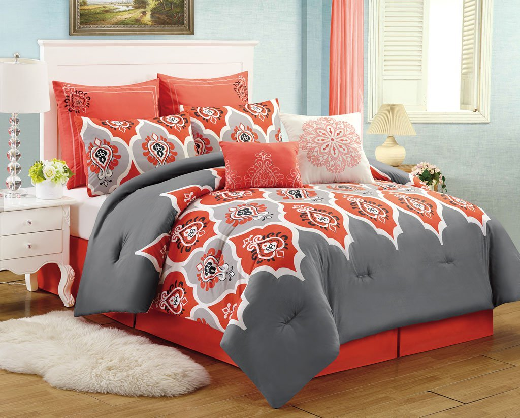 Image of: 8 Pc Medallion Red Grey Queen Comforter Set Boho Gray Coral Bedding Sets for Summer Double Bedspread