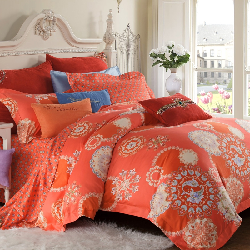 Image of: Aqua And Coral Bedding