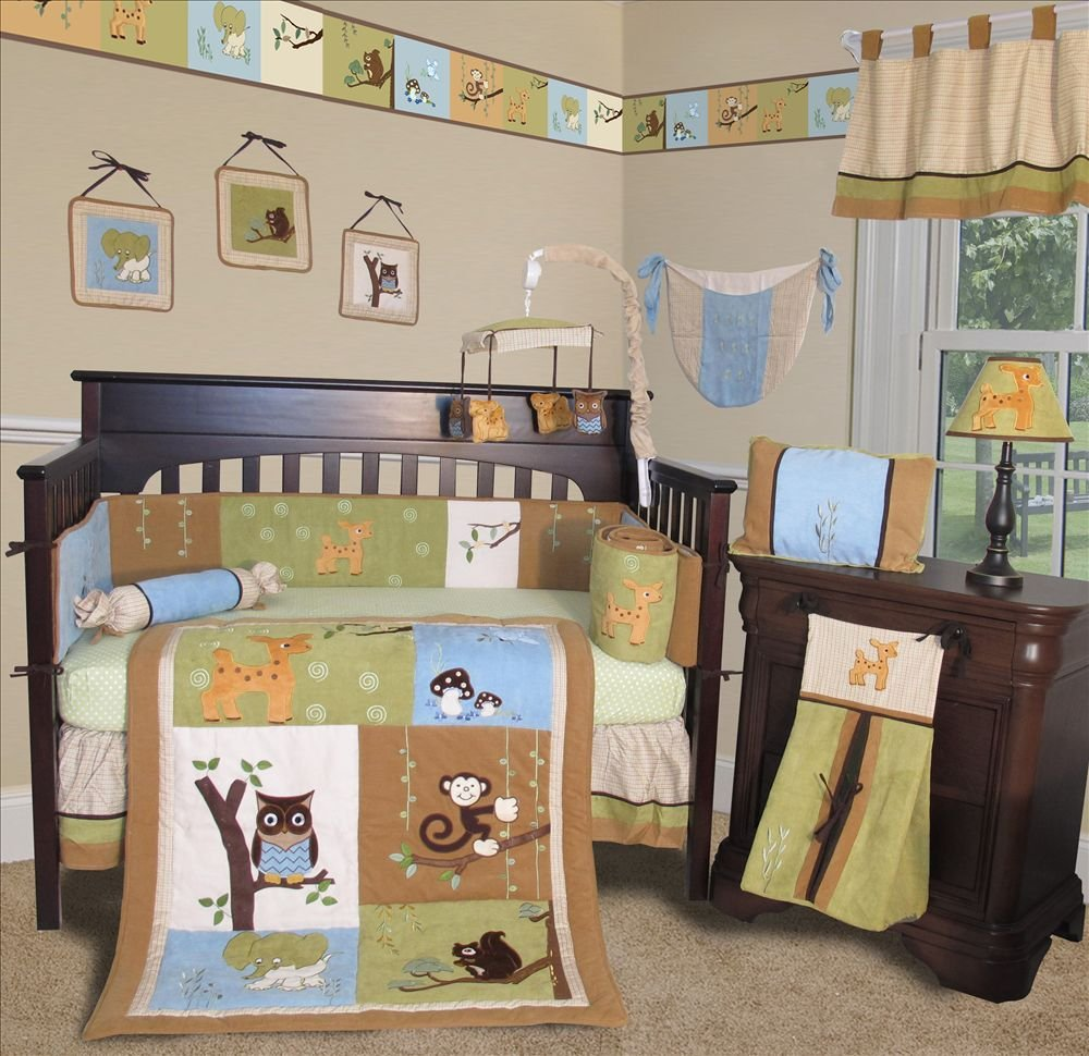 Image of: Baby Boutique Forest Friend 13 Pc Crib Nursery Bedding Create A Beautiful Forest Bed Set Theme