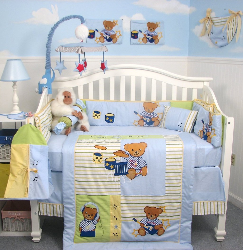 Image of: Baby Crib Set Boy Nursery Bedding Set Boy Neutral Yellow Bedding Sets For Baby Bed