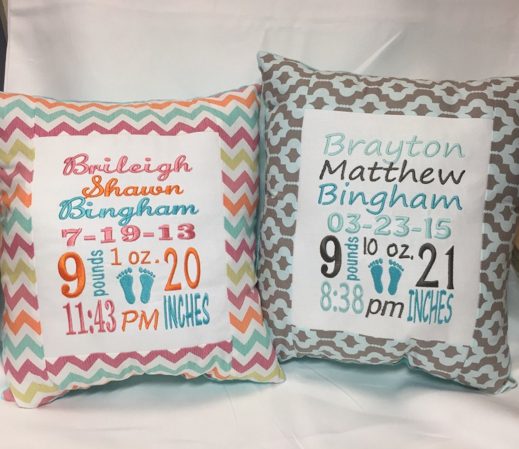 Image of: Baby Stat Embroidered Pillow Birth Information Girl Boy Owl Baby Bedding Ideas