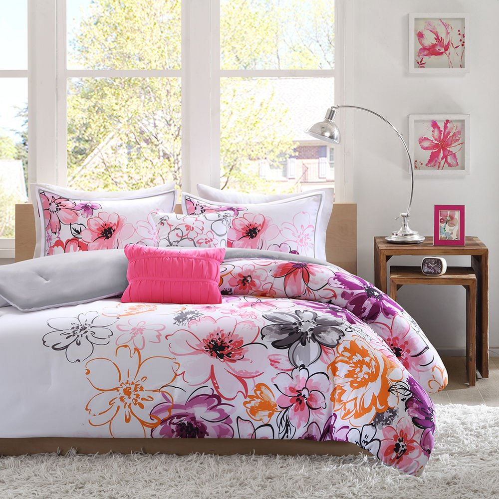 Image of: Beautiful 5pc Modern Chic Pink White Teal Purple Black Orange Bedding Sets And Covers