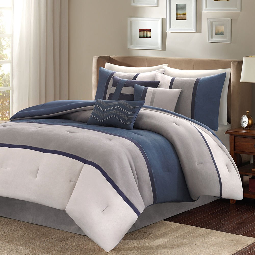 Beautiful Ultra Soft 7 Pc Blue Grey Navy Modern Stripe Decorate Ideas Navy Bedding Sets