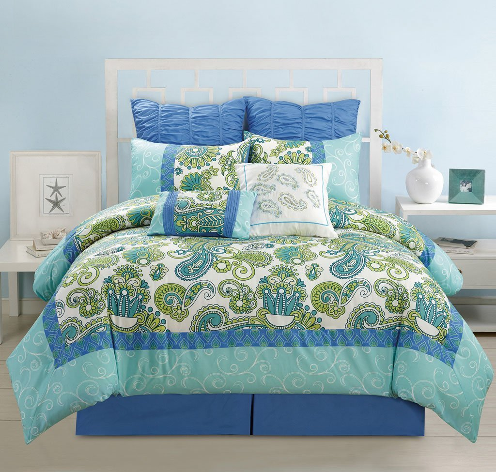 Image of: Blue and Green Bedding Sets Nice