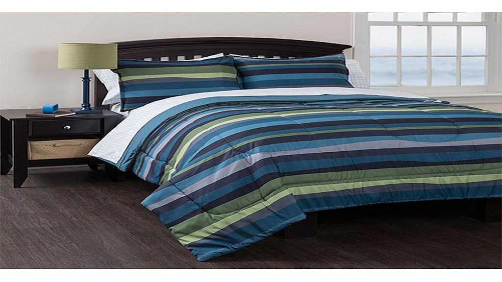 Image of: Blue Bed Rooms Blue Green Stripe Bedding Set Complete Decorate Blue and Green Bedding Sets