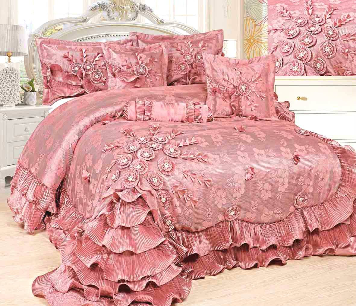 Image of: Blush Pink Ruffle Bedding
