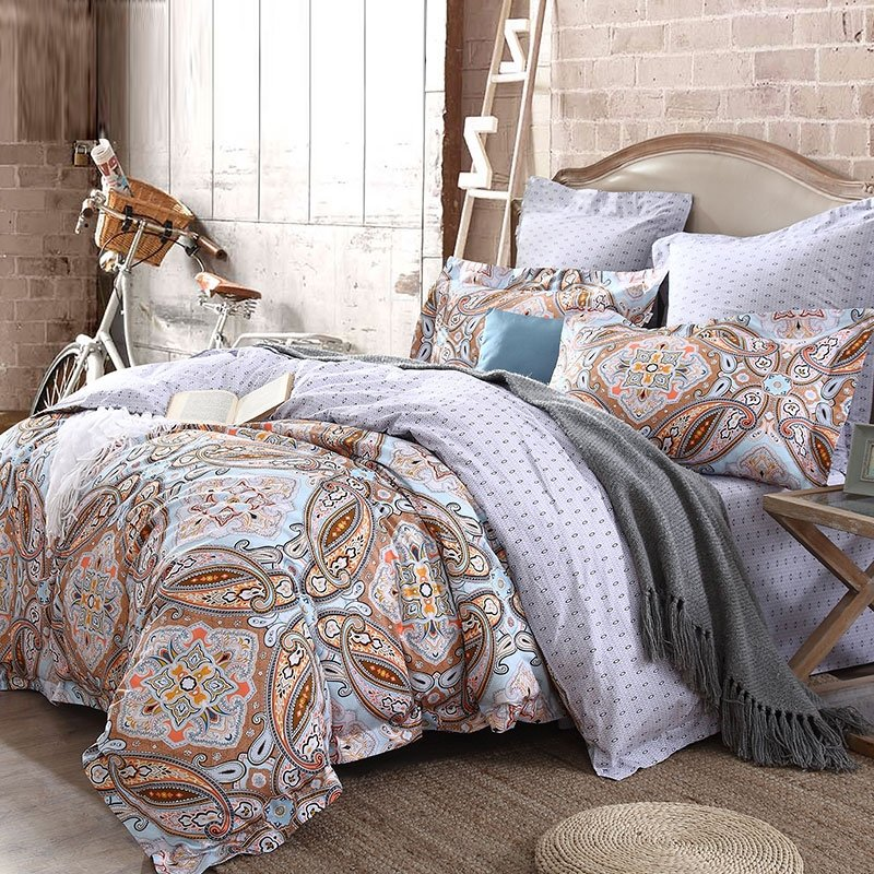 Image of: Boho Queen Bedding Expedited Fast Shipping Dorm Room Bedding Pink Blue Navy Damask Print Twin Orange Bedding Sets And Covers