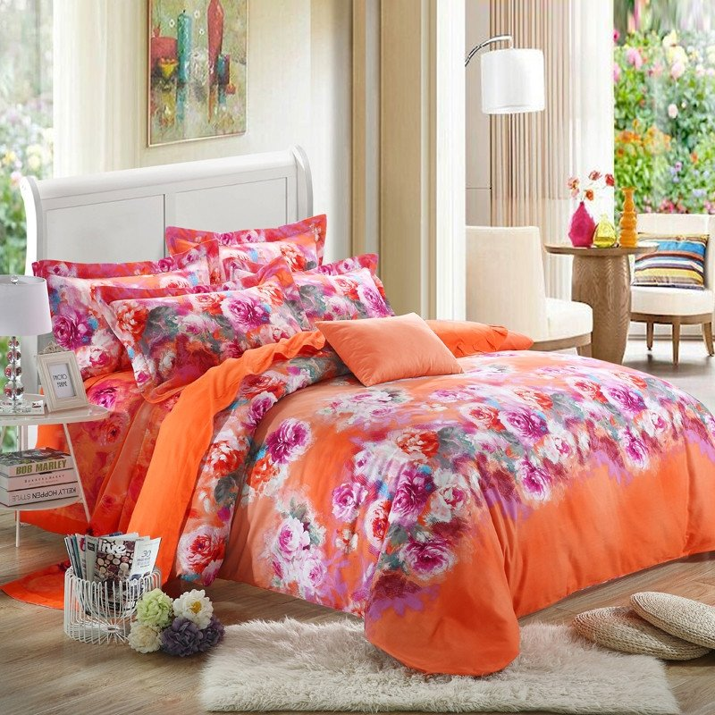 Image of: Bright Orange White Hot Pink Chinese Peony Flower Orange Bedding Sets And Covers