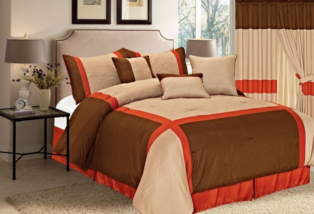Image of: Brown Orange Taupe 7 Piece Luxury Quilted Linen Orange Bedding Sets And Covers