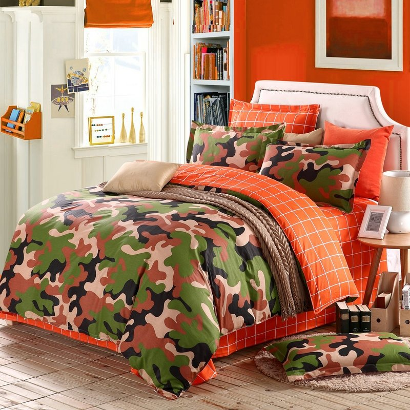 Image of: Burnt Orange Forest Green Brown Beige Modern Camouflage Print Abstract Design Unique 100 Orange Bedding Sets And Covers