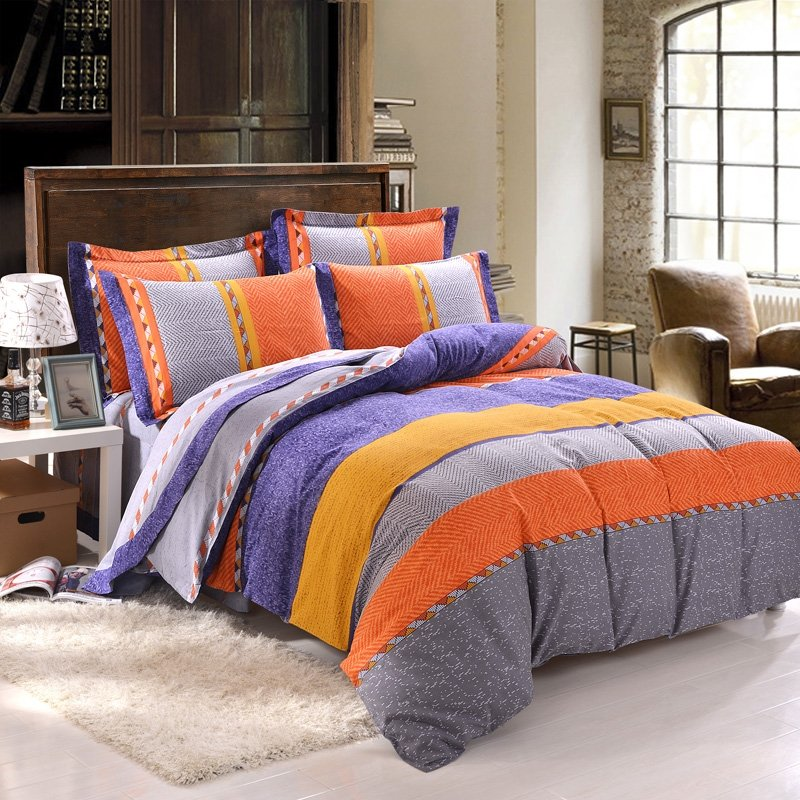 Image of: Burnt Orange Grey Yellow Blue Rugby Stripe Color Block Simply Chic 100 Brushed Cotton Full Orange Bedding Sets And Covers