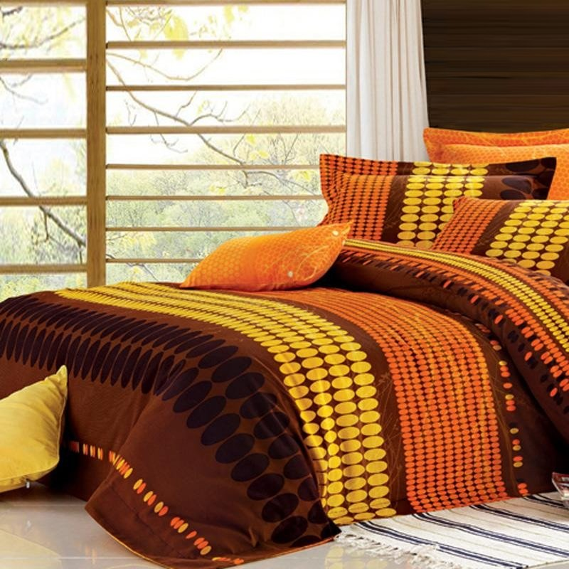 Image of: Burnt Orange Yellow Brown Oval Polka ripe Orange Bedding Sets And Covers