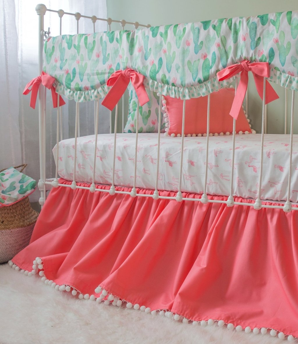 Image of: Cactu Blossom Bumperless Crib Set Lottie Da Baby Turquoise Bedding Set For Baby Theme