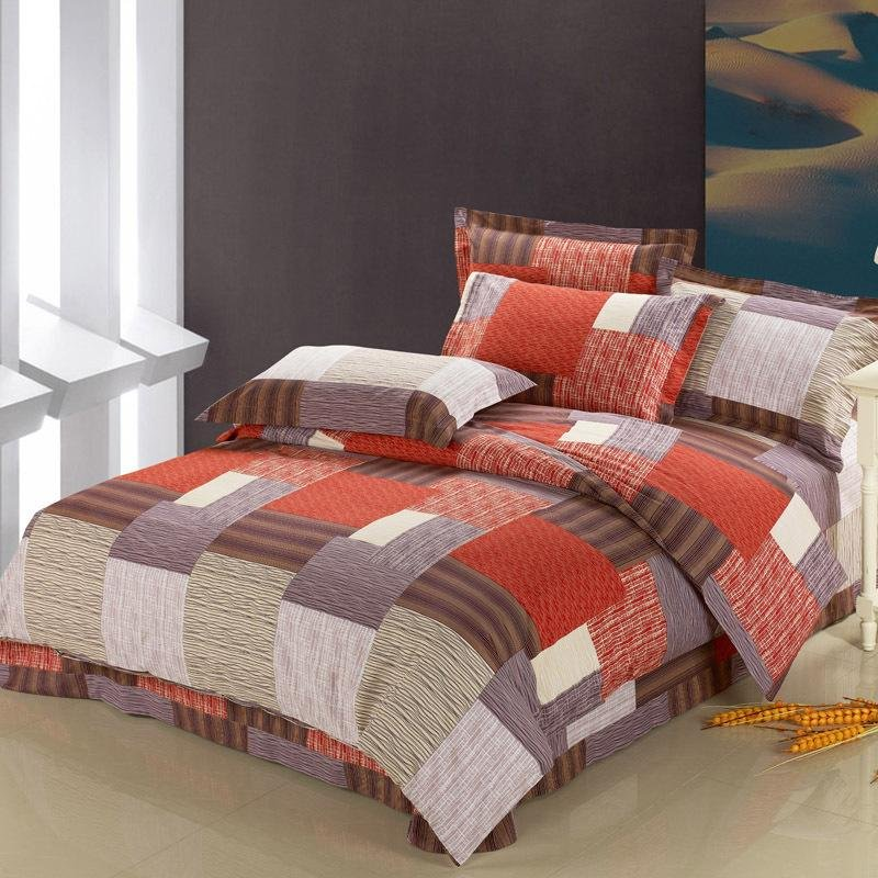 Image of: Chocolate Brown Gray Burnt Orange Personalized Design Patchwork Plaid Print Full Queen Size Orange Bedding Sets And Covers