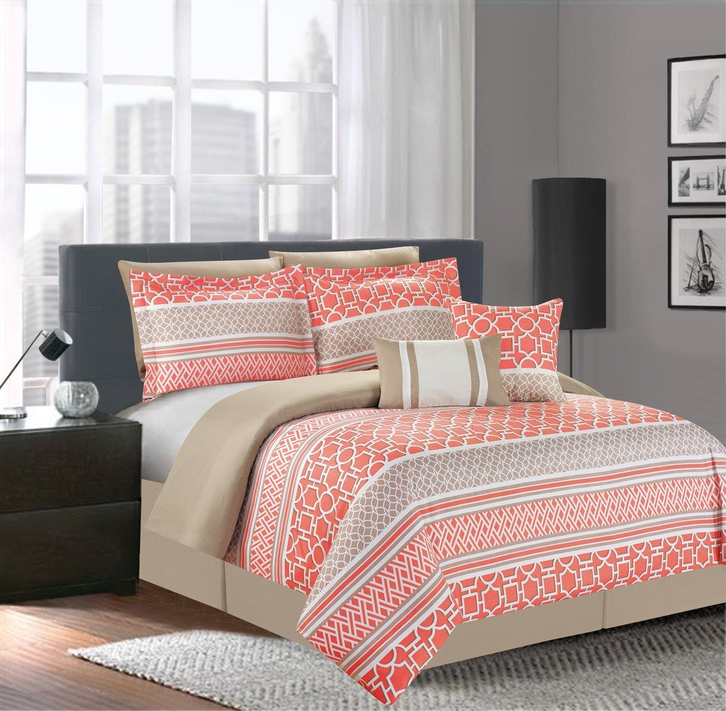 Image of: Coral And Grey Bedding