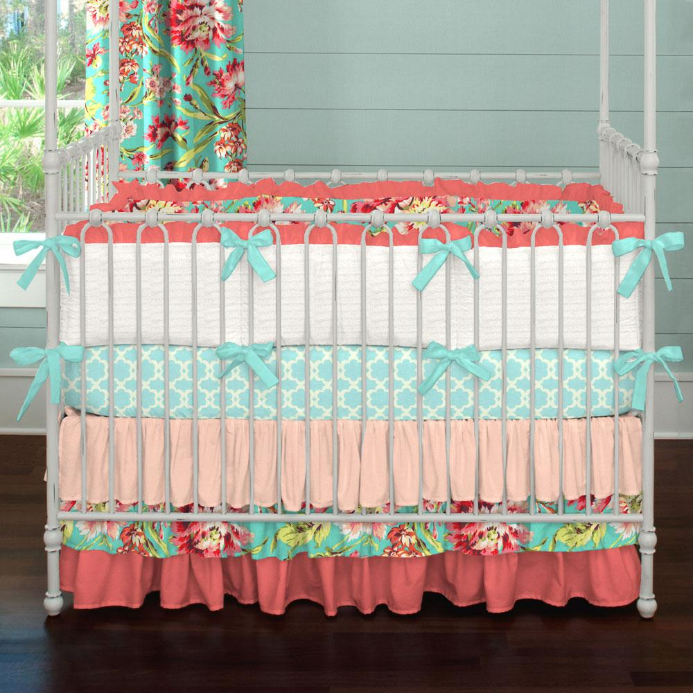 Image of: Coral and Teal Baby Bedding
