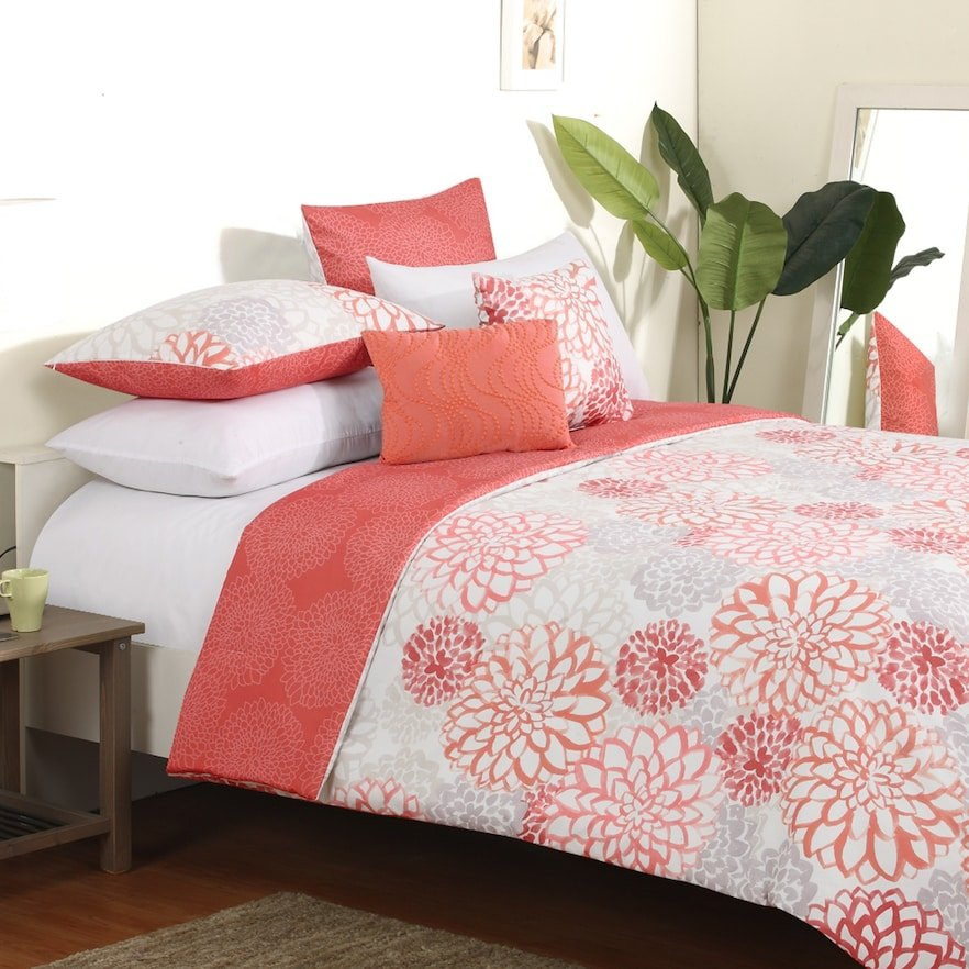 Image of: Coral Reversible Bedding Kohl 39 Coral Bedding Sets for Summer Double Bedspread