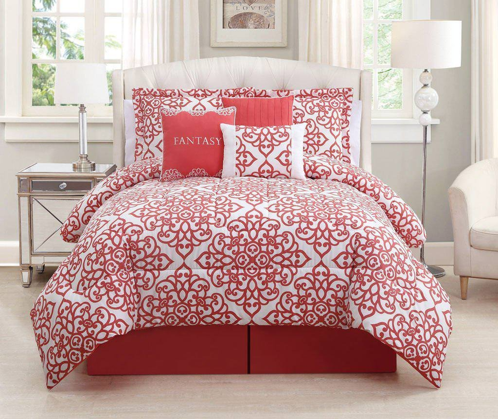 Image of: Coral Turquoise Bedding Set Coral Bedding Sets for Summer Double Bedspread
