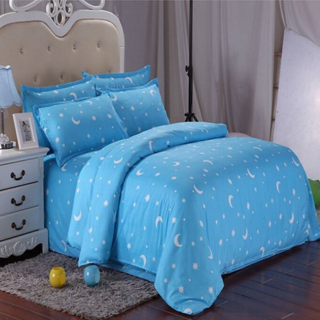 Image of: Cotton Blue Star Moon Printing Bedding Set Bed Sheet Moon and Stars Bedding Set