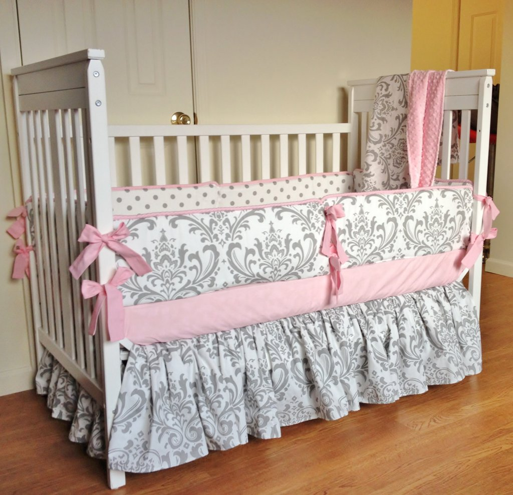 Image of: Crib Bedding Baby Girl Bedding Set Pink Gray Damask Beautiful Baby Crib Bedding Sets For Girls