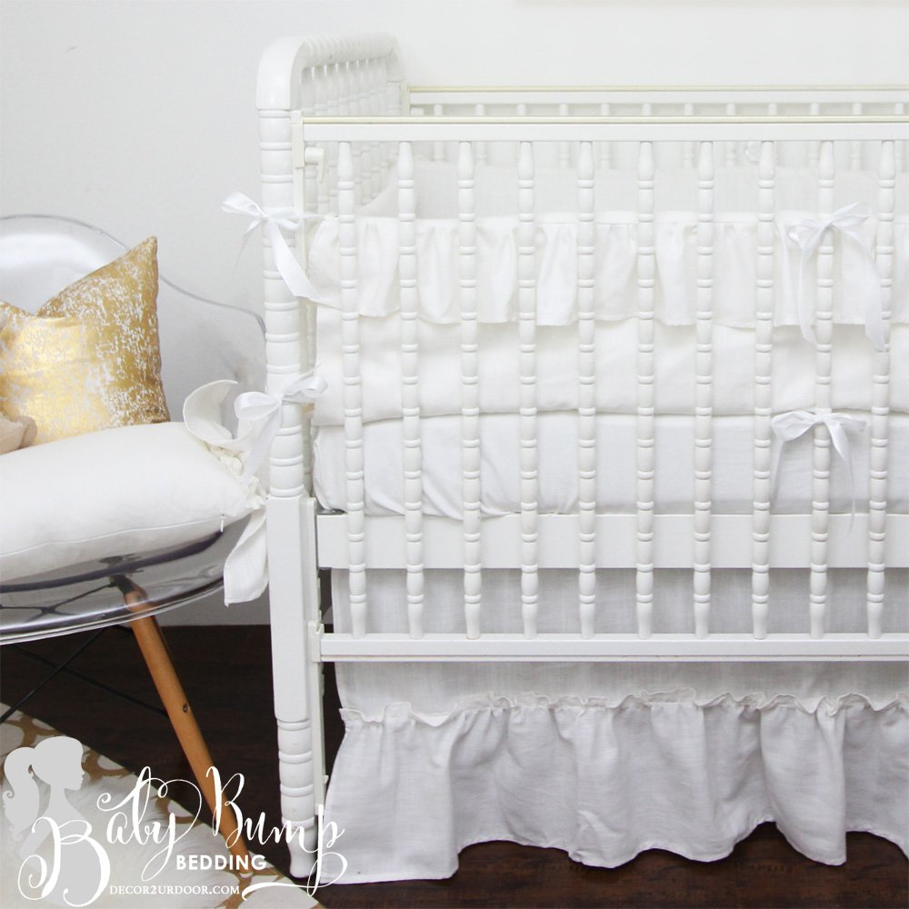 Image of: Farmhouse Frilly White Ruffled Gender Neutral Baby Crib Bedd Beautiful Baby Crib Bedding Sets For Girls