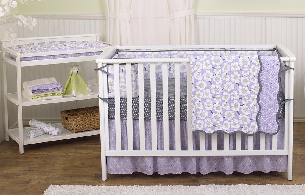 Image of: Lavender Baby Bedding Purple Gold Sparkle Crib Rail Cover Lavender Linen Piece Owl Baby Bedding Ideas