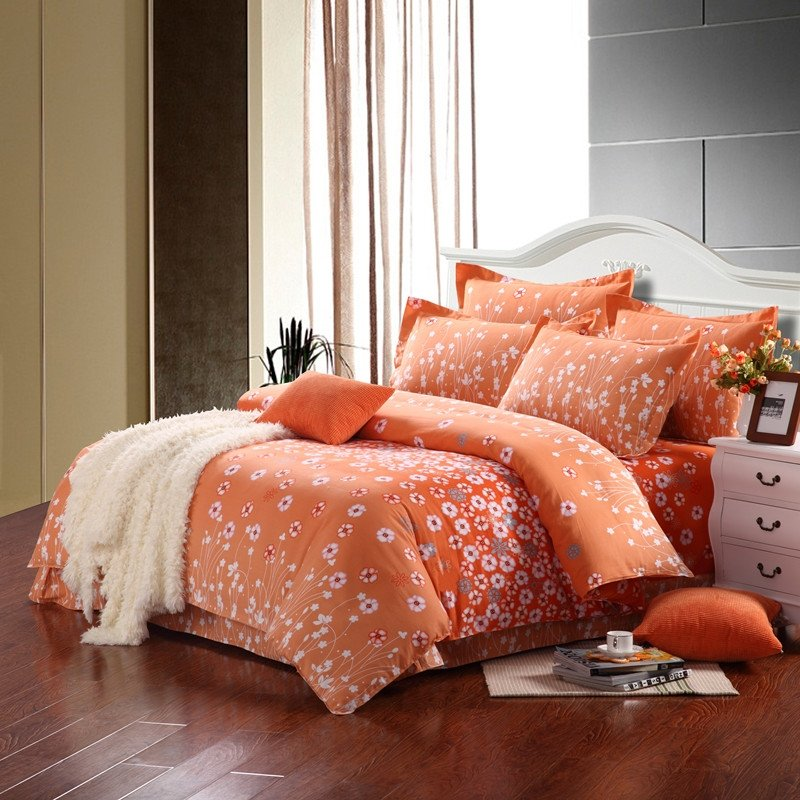 Image of: Light Orange White Cute Abstract Modern Country Flower Orange Bedding Sets And Covers
