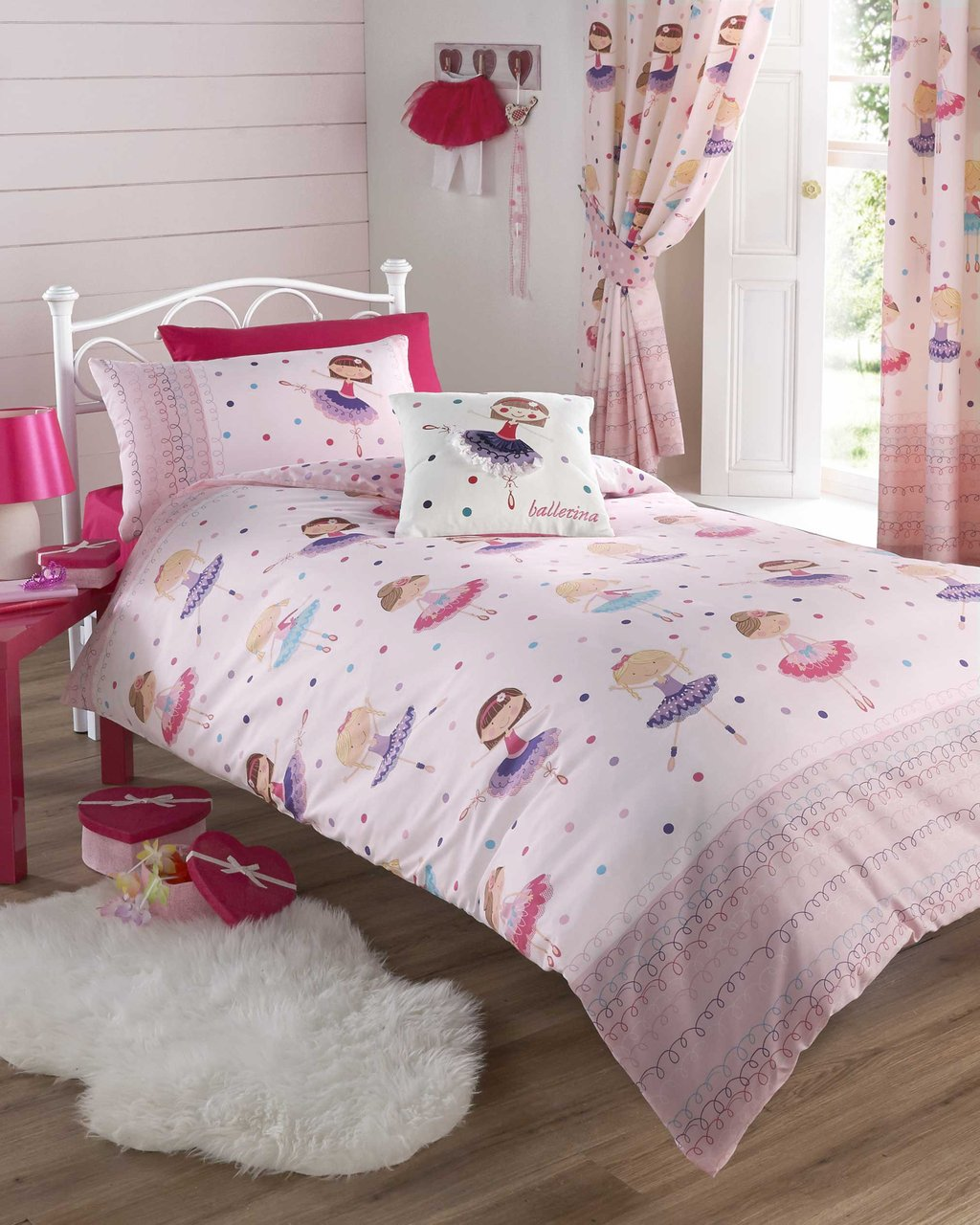 Image of: Light Pink Purple Dancing Ballerina Double Duvet Cover Beautiful Baby Crib Bedding Sets For Girls