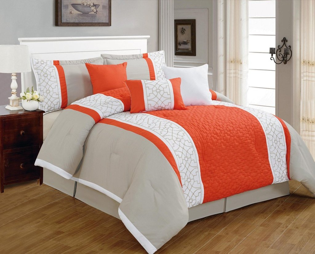 Image of: Minimalist Coral Oarneg Grey Comforter 8 Piece Coral Bedding Sets for Summer Double Bedspread