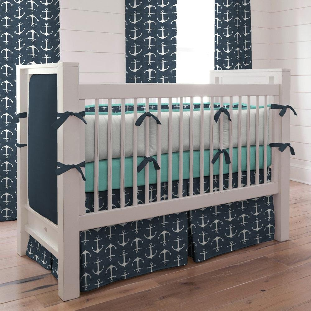 Image of: Navy Anchor Crib Bedding Nautical Boy Baby Bedding Yellow Bedding Sets For Baby Bed