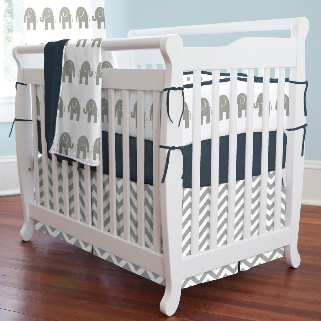 Image of: Navy Gray Elephant Mini Crib Bedding Carousel Design Yellow Bedding Sets For Baby Bed
