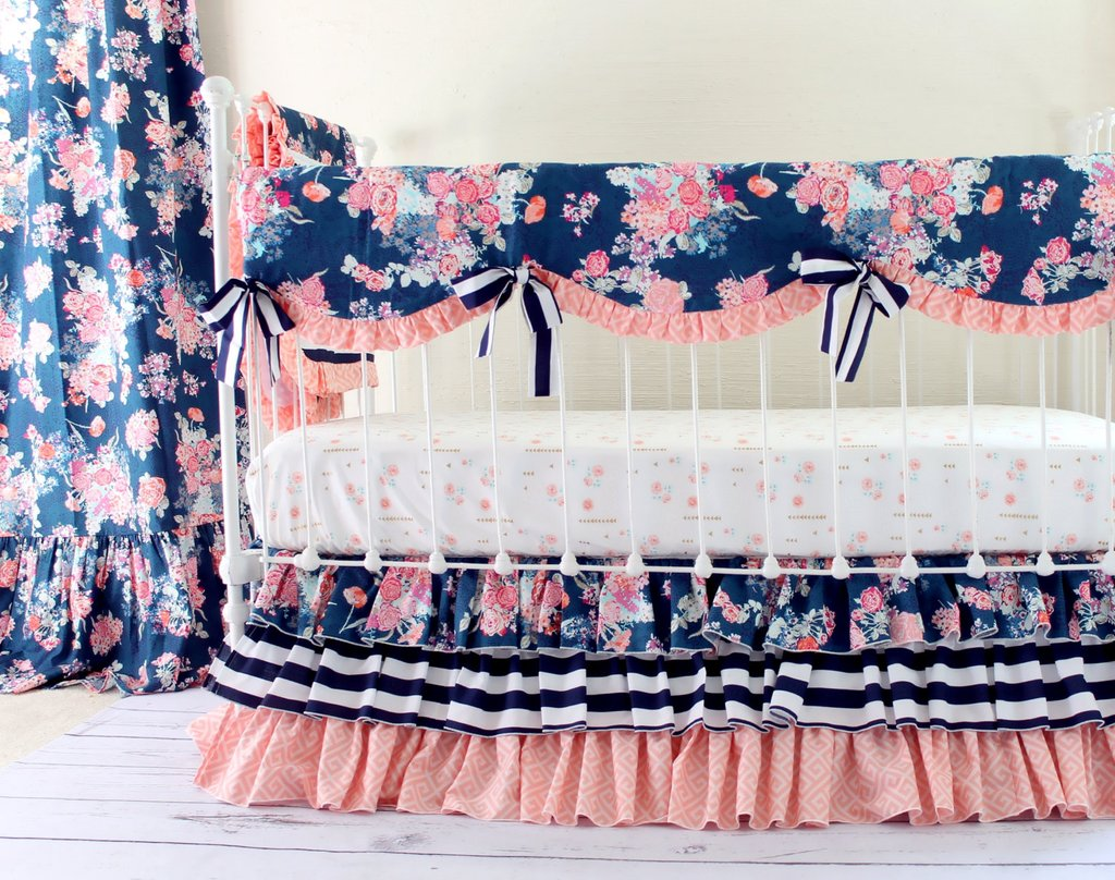 Image of: Navy Pink Bedding Navy Coral Ikat Crib Bedding Coral Bedding Sets for Summer Double Bedspread