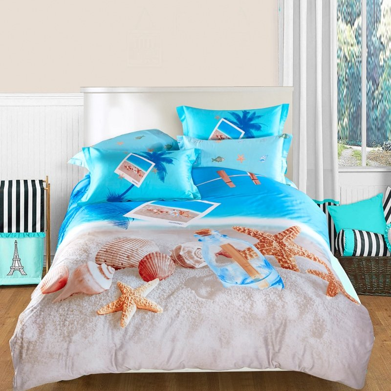Image of: Ocean Blue Beige Brown Seashell Starfish Print Turquoise Bedding Set For Baby Theme