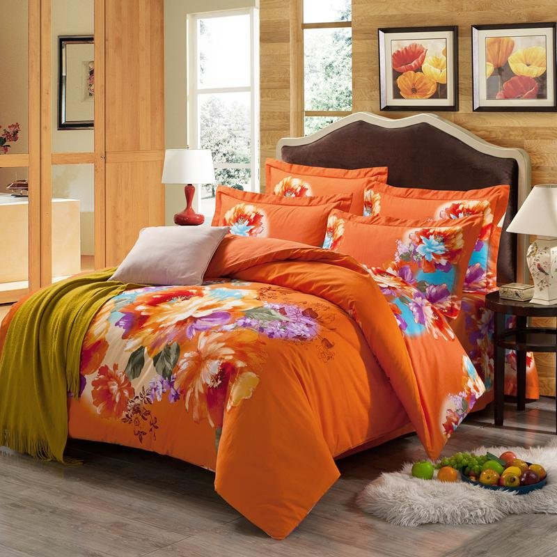 Image of: Orange Yellow Purple Bright Colorful Floral Print Traditional Country Living Full Queen Orange Bedding Sets And Covers